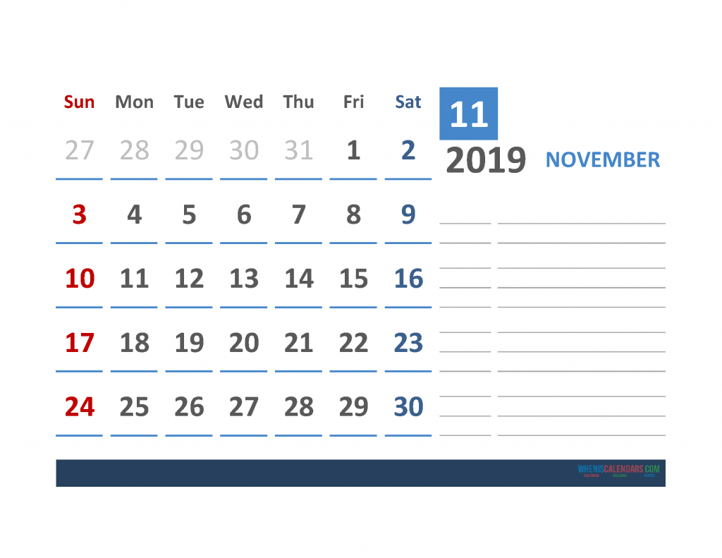 Free November 2019 Calendar Template With Space for Notes