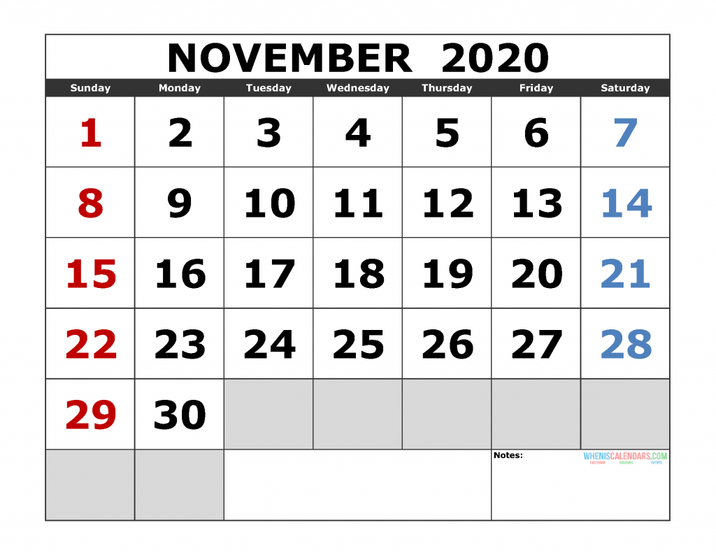 November 2020 Printable Calendar Templates 2020 Monthly Calendar