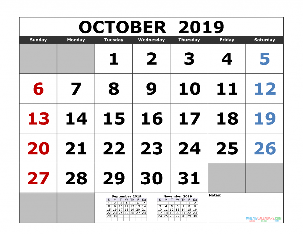 October 2019 Printable Calendar Template (September October November 2019 3 Month Calendar Template)