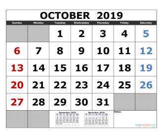 October 2019 Printable Calendar Template September October November 2019 3 Month Calendar Template