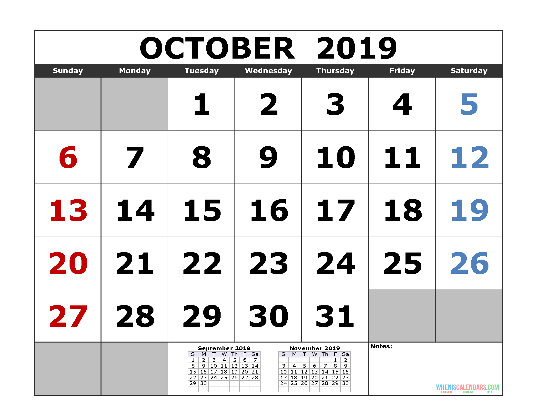 graphic about Printable Calendar October referred to as Oct 2019 Printable Calendar Template (3 Thirty day period Calendar