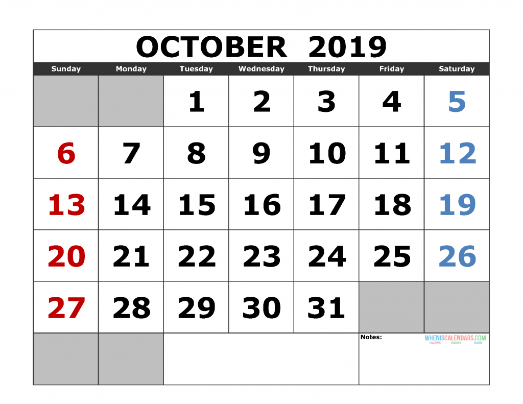 graphic about Free Printable October Calendar known as Printable Oct 2019 Calendar Template, Landscape Structure