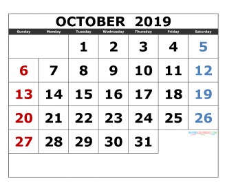 october 2019 Printable Calendar Templates 2019 Monthly Calendar