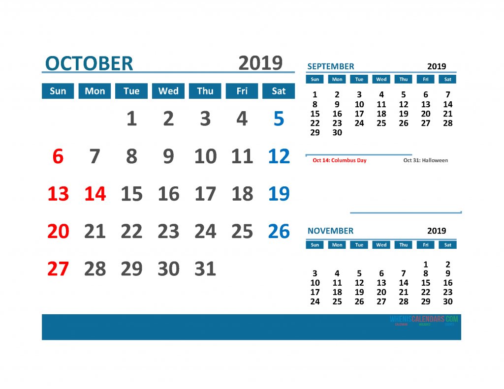 Printable 3 Month Calendar 2019 with Holidays [ September, October, November 2019 Calendar]