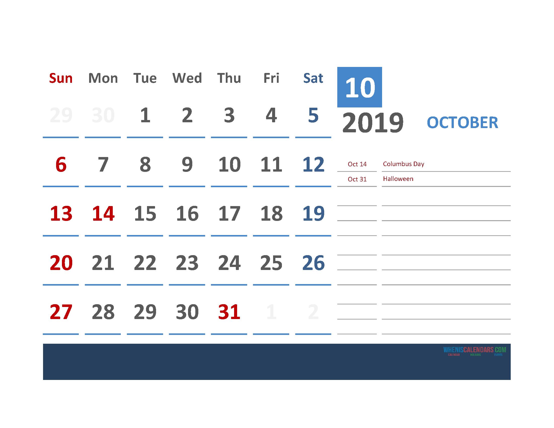 October 2019 Calendar with Holidays Printabe Monthly Calendar PDF, PNG