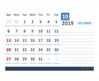 Free October 2019 Calendar Template With Space for Notes