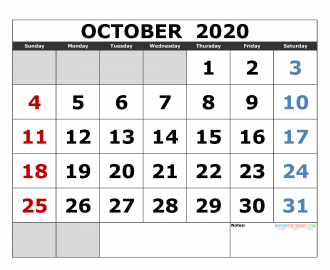October 2020 Printable Calendar Templates 2020 Monthly Calendar