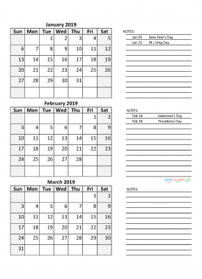 Quarterly Calendar 2019 with Holidays Quarter 1 January February March 2019