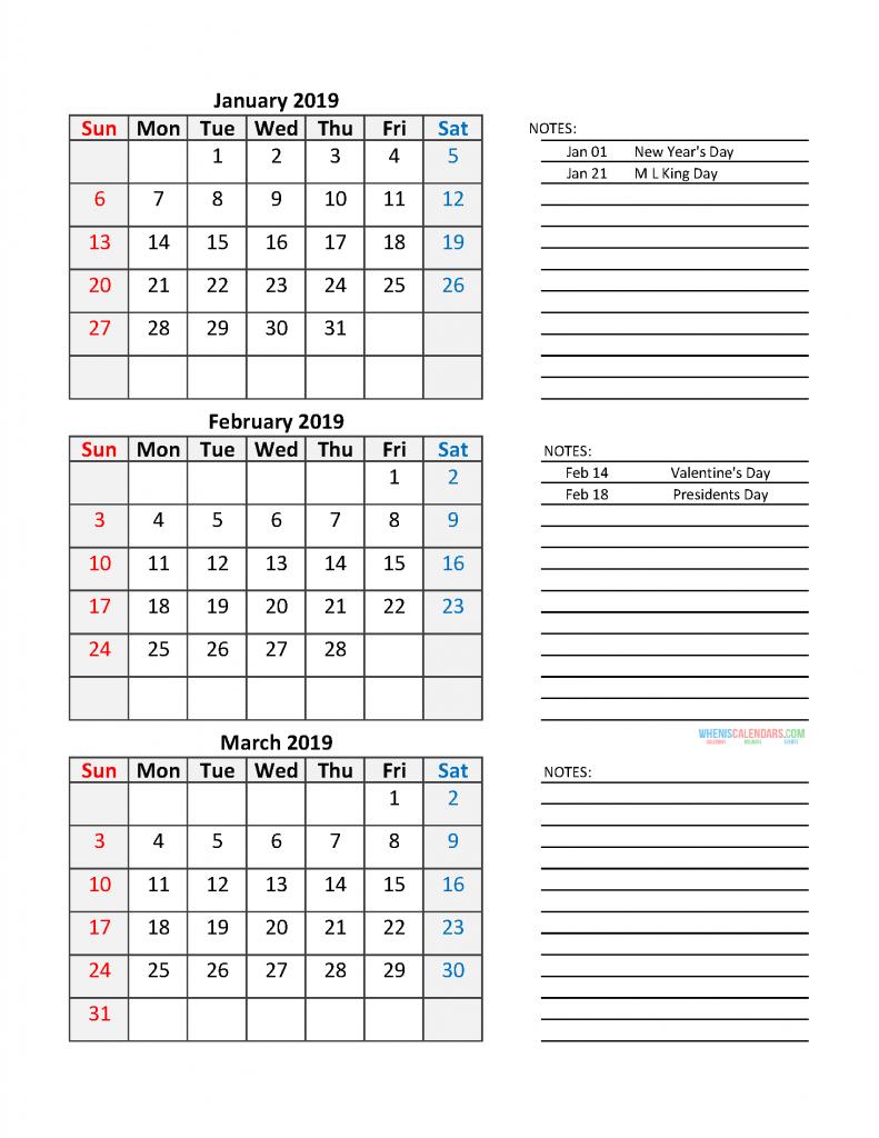 Quarterly Calendar 2019 Printable Calendar Template: Quarter 1 January - March