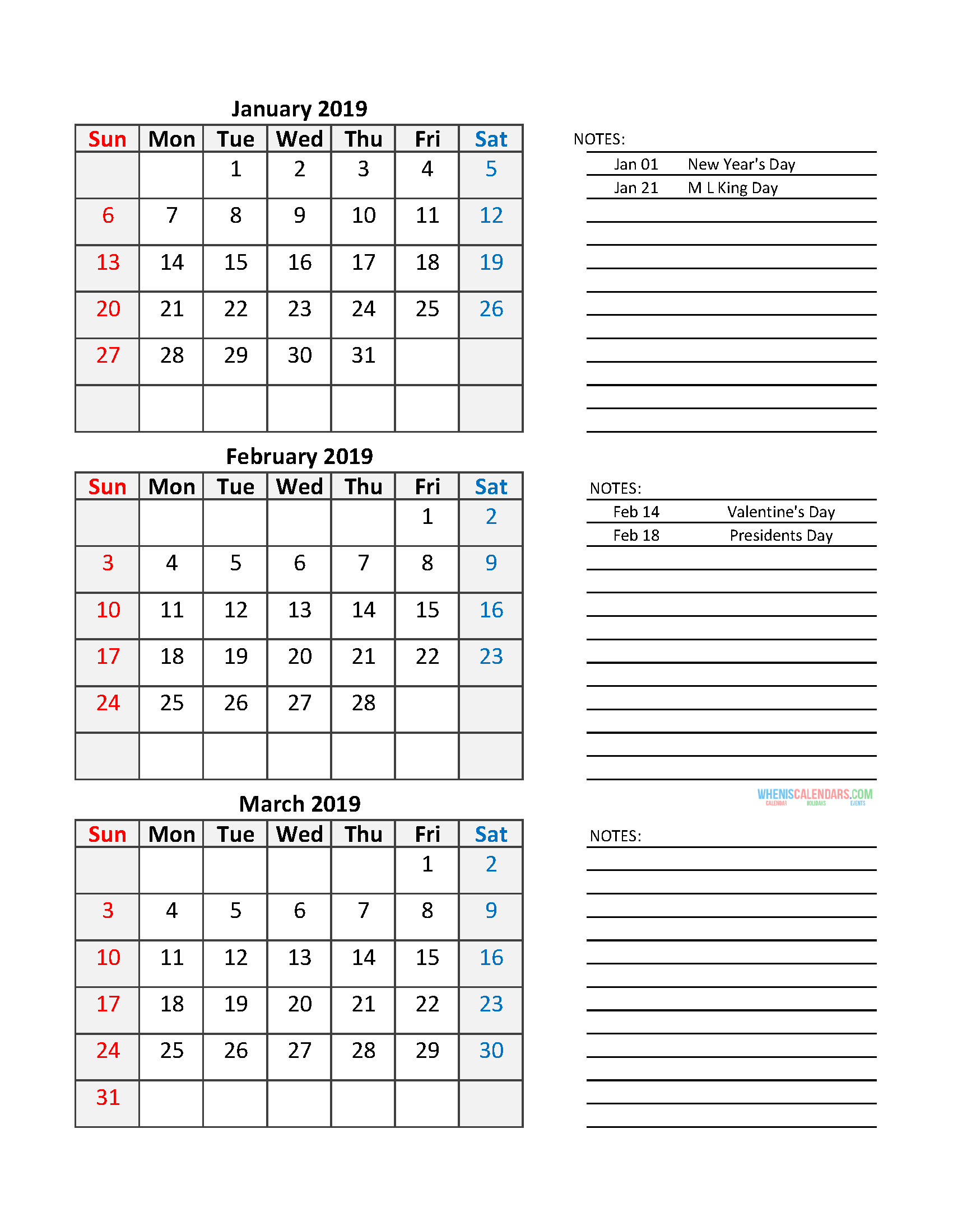 graphic relating to Printable Calendar Template titled Quarterly Calendar 2019 Printable Calendar Template No cost