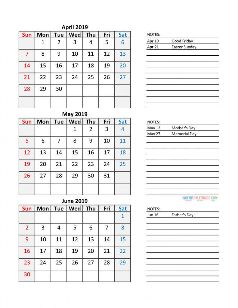Quarterly Calendar 2019 Printable Calendar Template: Quarter 2 April - June