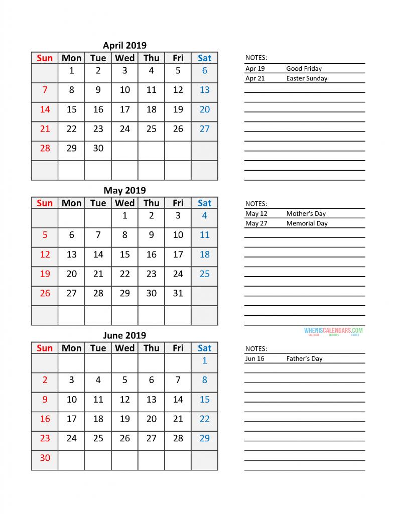 Quarterly Calendar 2019 Printable Calendar Template: Quarter 2 April - June