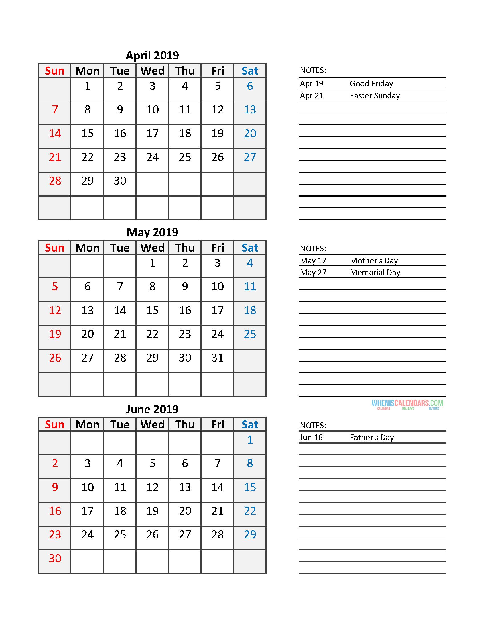 quarterly calendar 2019 printable calendar template