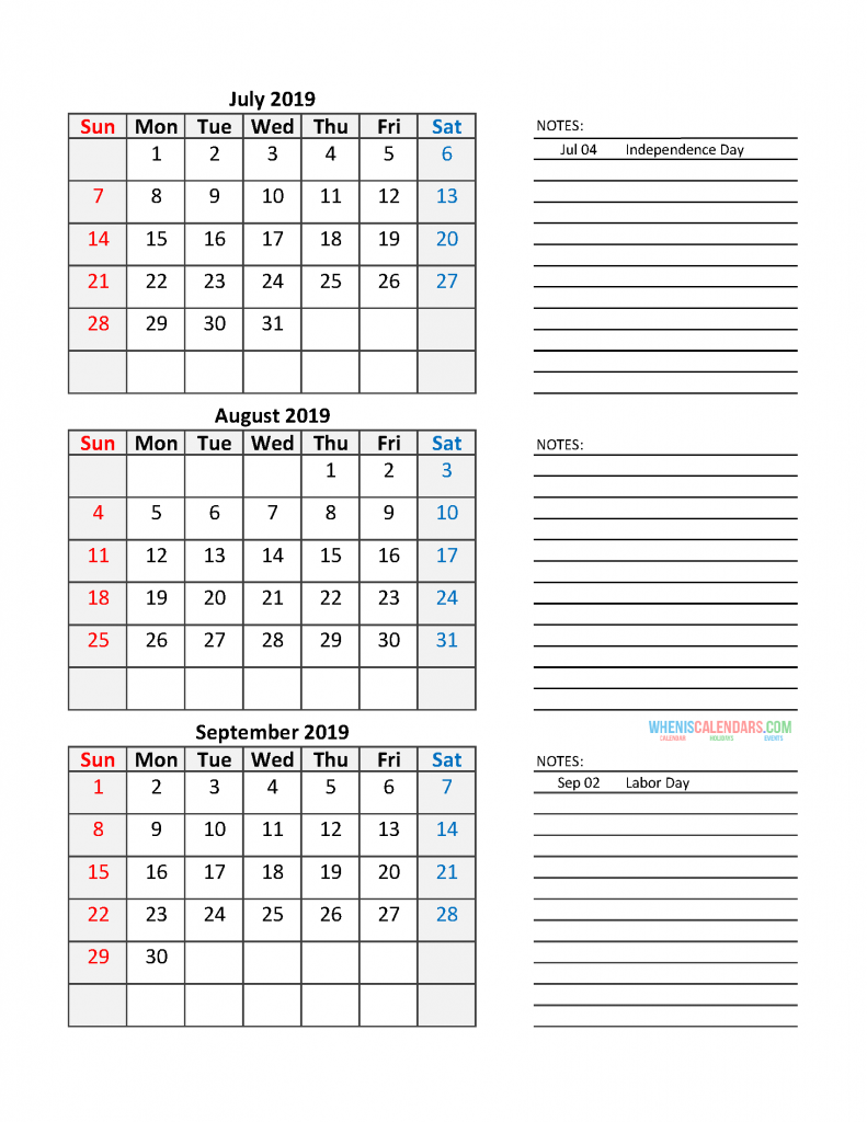 Quarterly Calendar 2019 Printable Calendar Template: Quarter 3 July - September