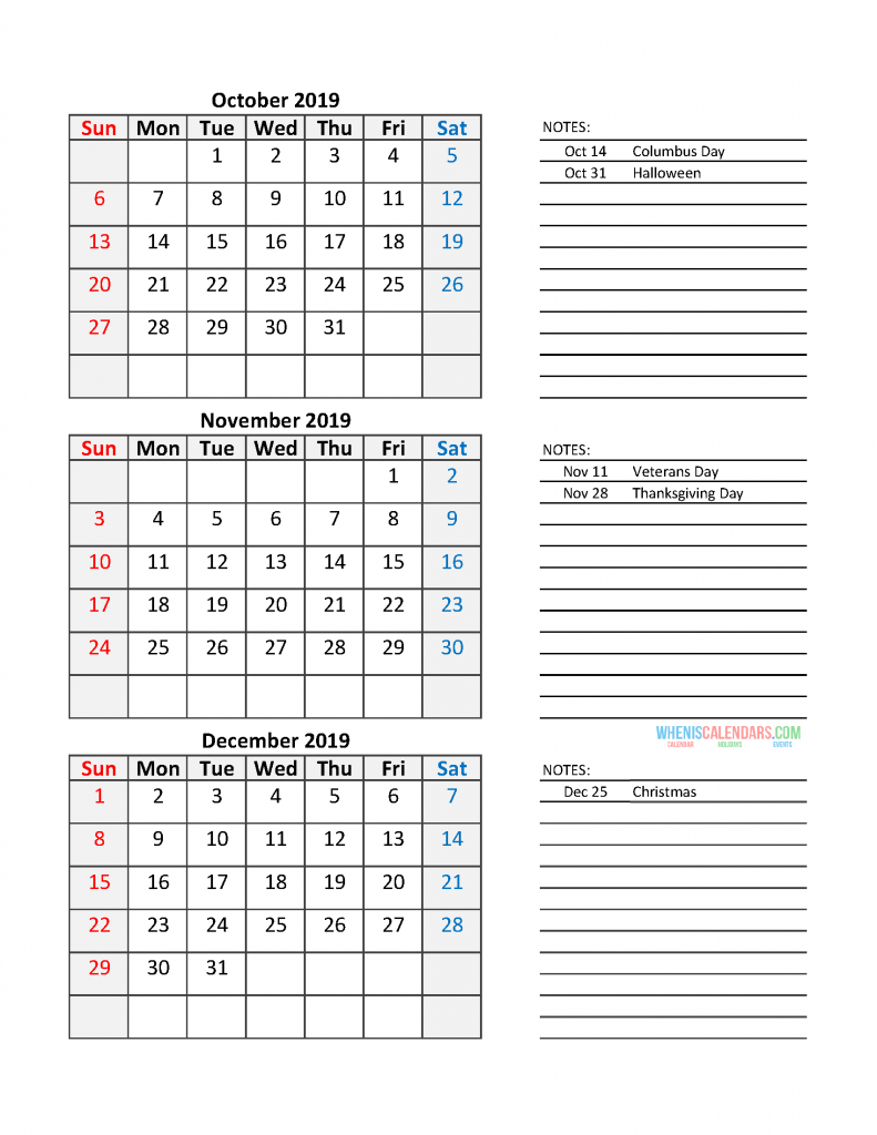 Quarterly Calendar 2019 Printable Calendar Template: Quarter 4 October - December