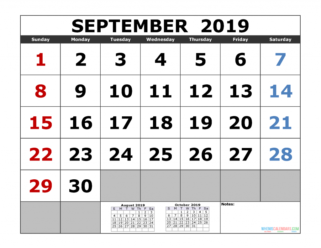 September 2019 Printable Calendar Template (August September October 2019 3 Month Calendar Template)