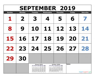 August 2019 Printable Calendar Template 3 Month Calendar