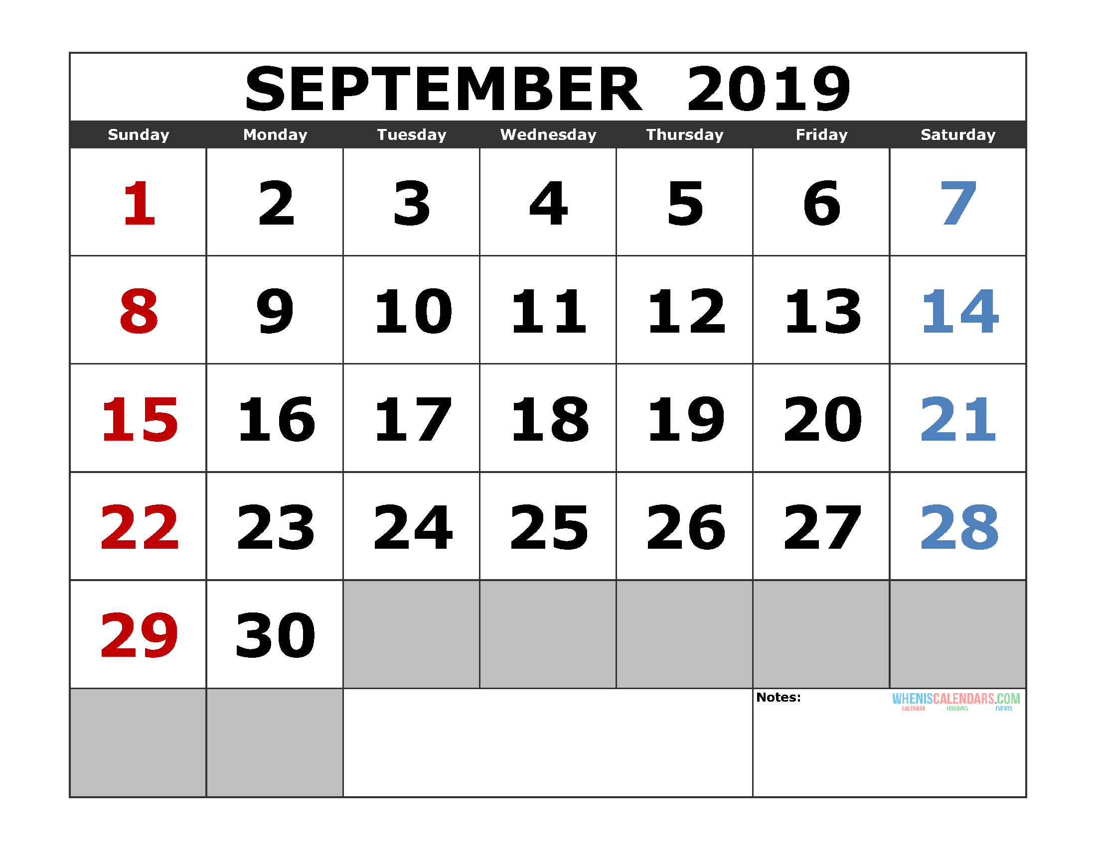Free September 2019 Printable Calendar Template US. Edition (the first of the week as Sunday)