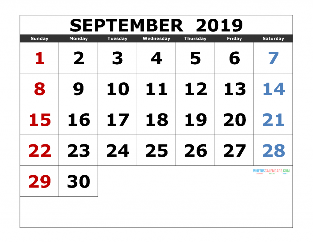 September 2019 Printable Calendar Template Excel, PDF, Image
