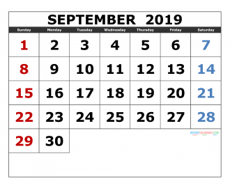 September 2019 Printable Calendar Templates 2019 Monthly Calendar
