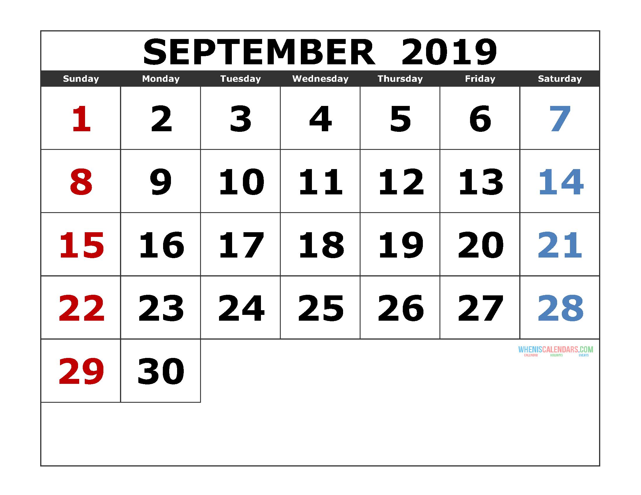 September 2019 Printable Calendar Template Excel, PDF, Image