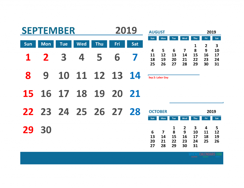 Printable 3 Month Calendar 2019 with Holidays [  August, September, October 2019 Calendar]