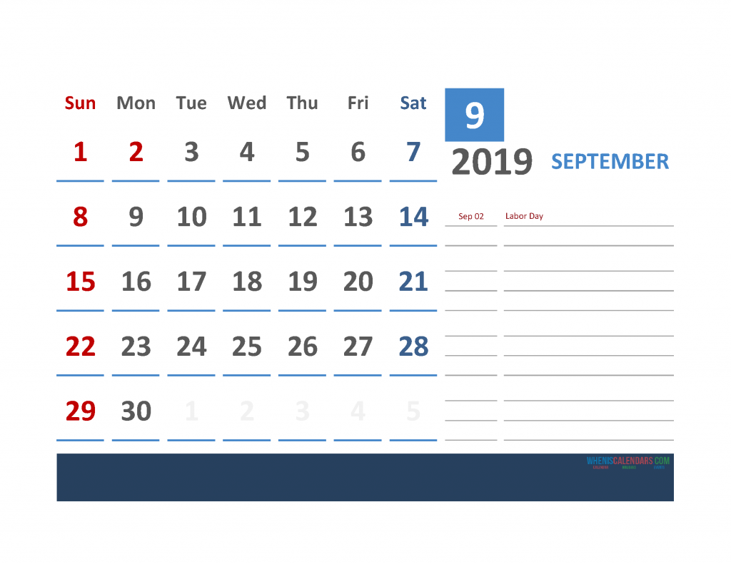 September 2019 Calendar with Holidays Printabe Monthly Calendar PDF, PNG