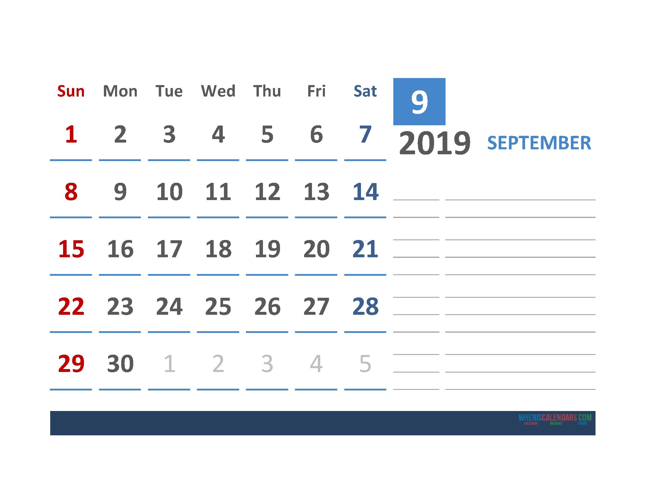 Free September 2019 Calendar Template With Space for Notes