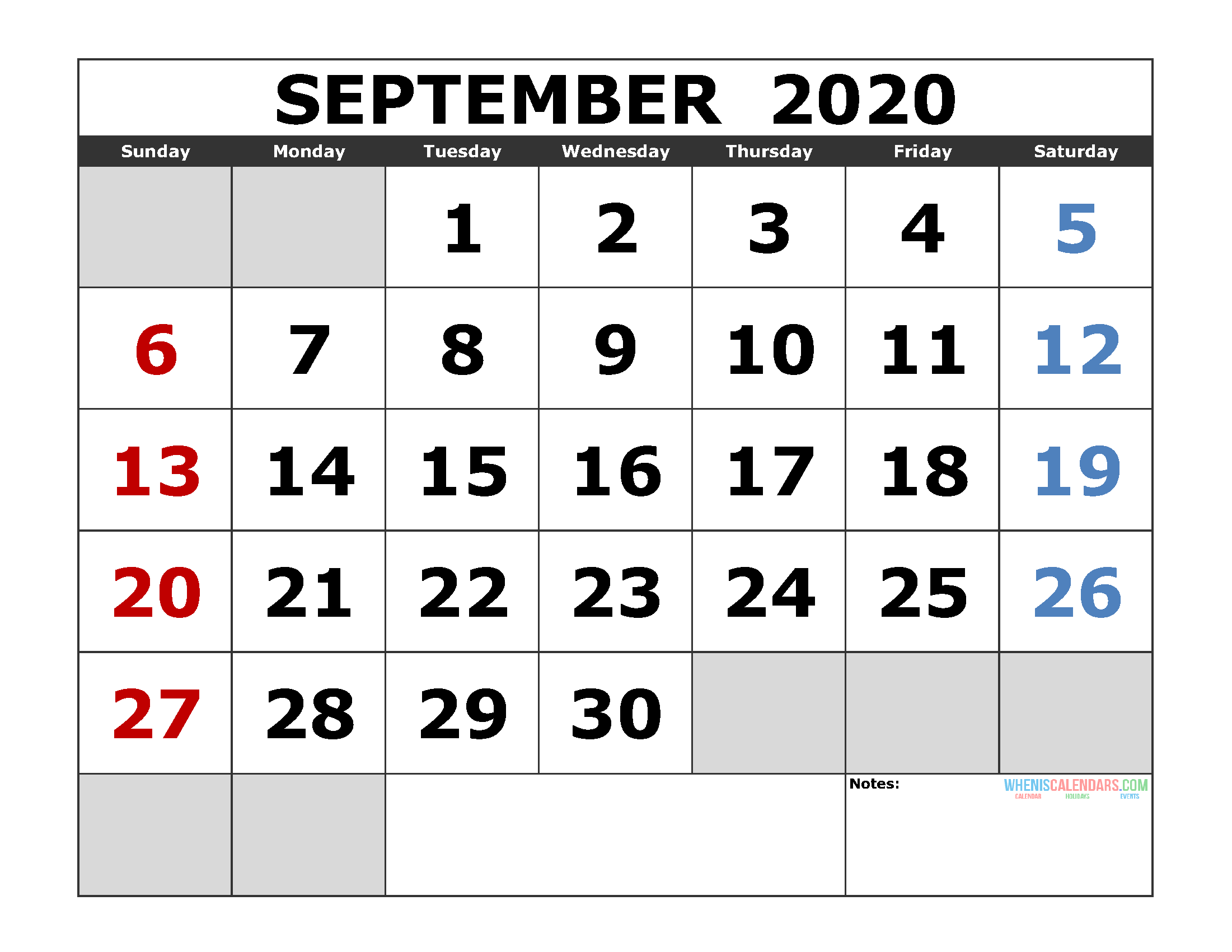 September 2020 Printable Calendar Templates 2020 Monthly Calendar