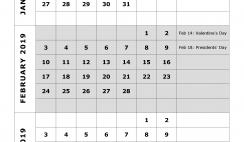 2019 Quarterly Calendar Printable - Quarter 1: January, February, March. Free Printable Calendar 2019 with Holidays and space for notes