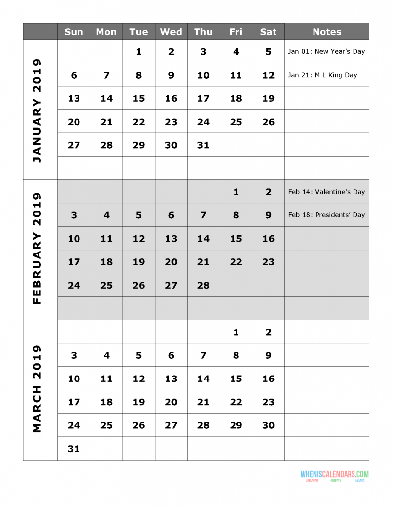 2019 Quarterly Calendar Printable - Quarter 1: January, February, March. Free Printable Calendar 2019 with Holidays and space for notes