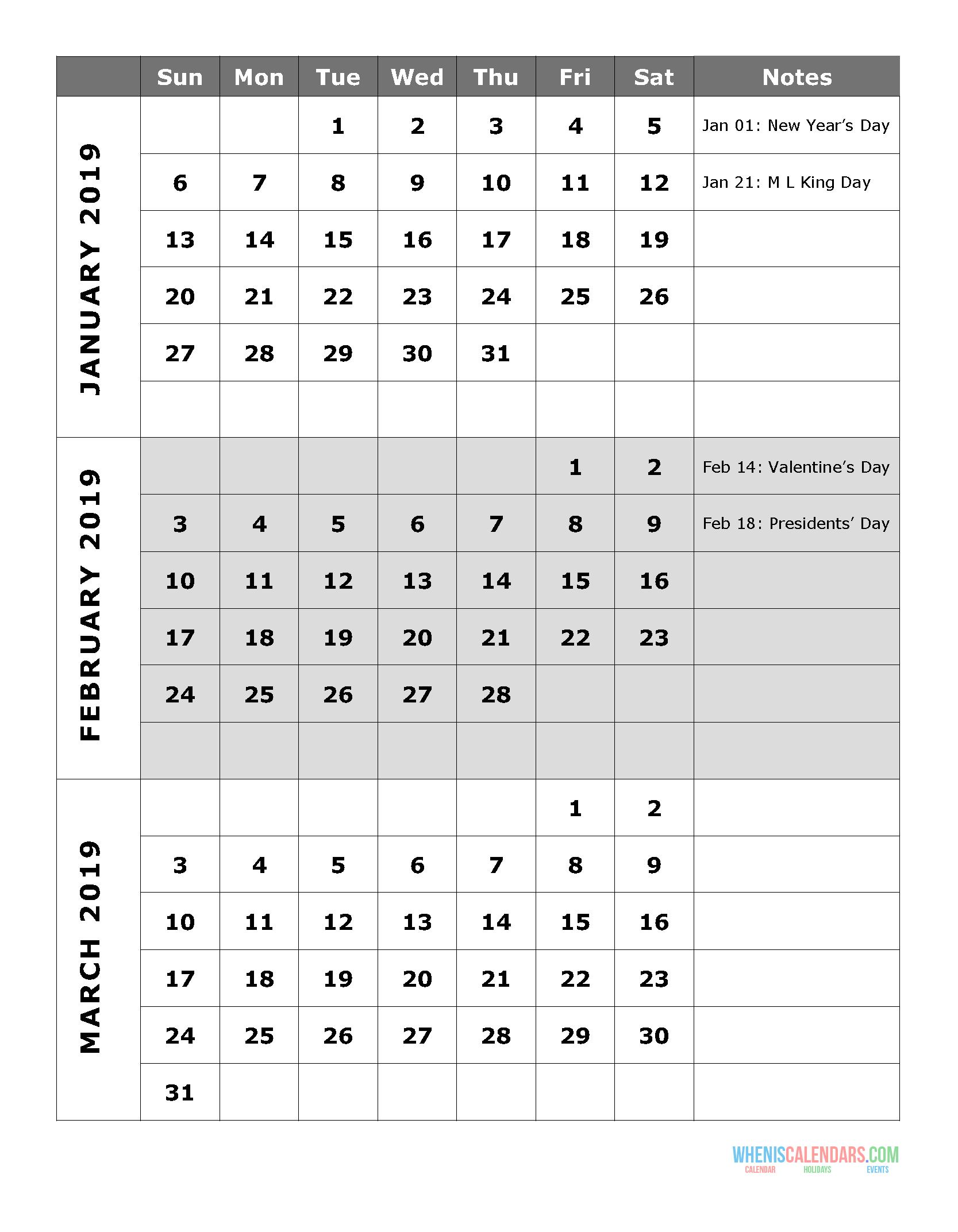 2019 quarterly calendar printable q 1  january  february