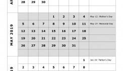 2019 Quarterly Calendar Printable - Quarter 2: April, May, June. Free Printable Calendar 2019 with Holidays and space for notes