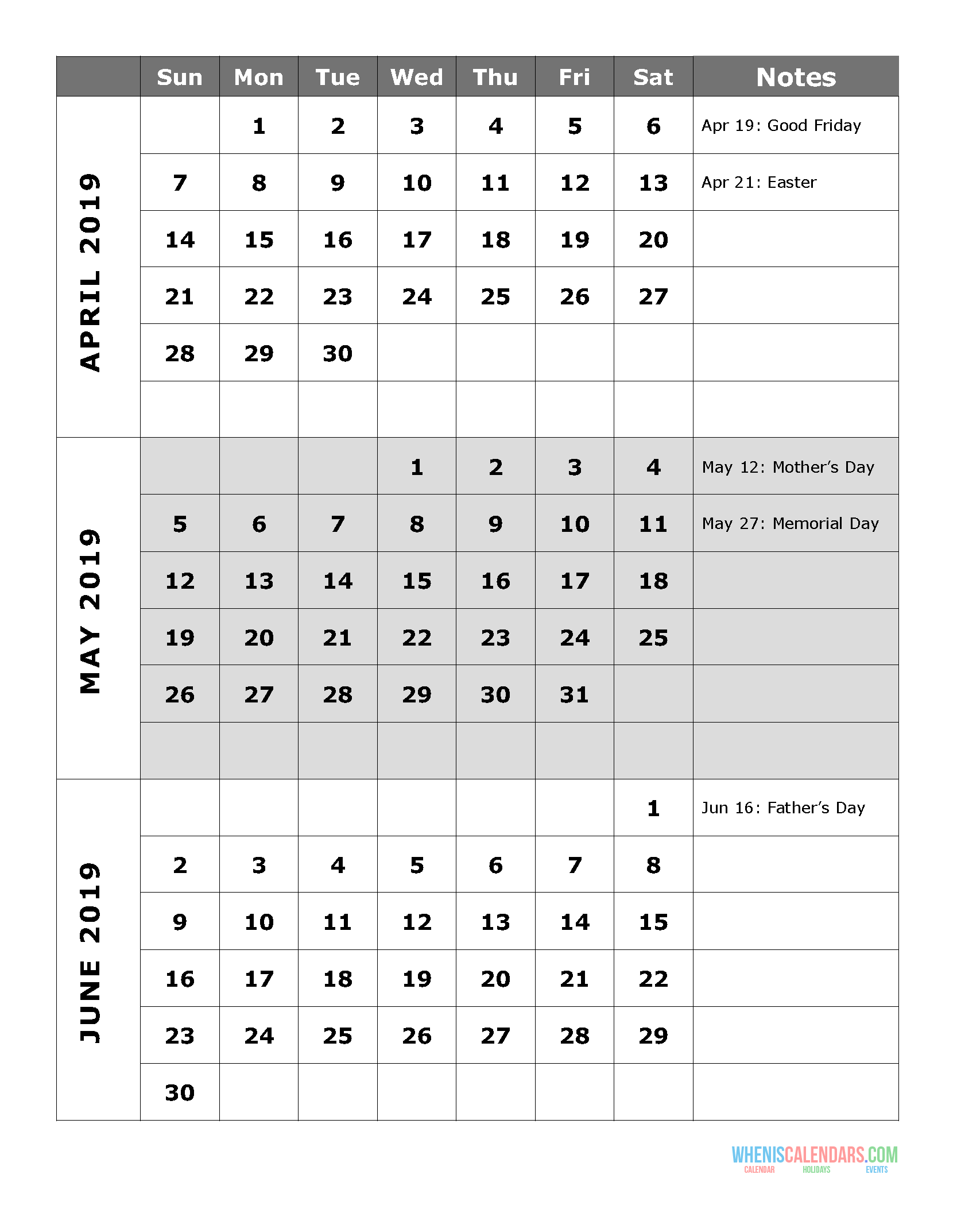 image regarding April Calender Printable known as 2019 Quarterly Calendar Printable Q.2: April May perhaps June Free of charge