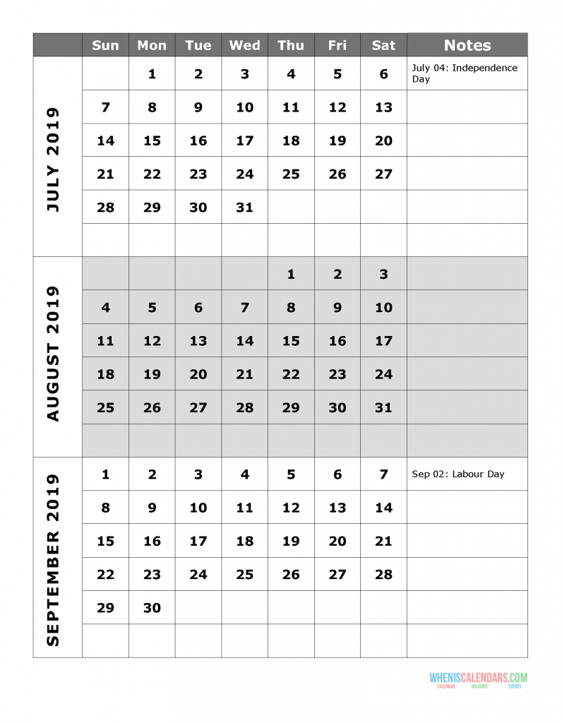 2019 Quarterly Calendar Printable - Quarter 3: July, August, September. Free Printable Calendar 2019 with Holidays and space for notes