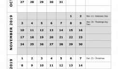 2019 Quarterly Calendar Printable - Quarter 4: October, November, December. Free Printable Calendar 2019 with Holidays and space for notes