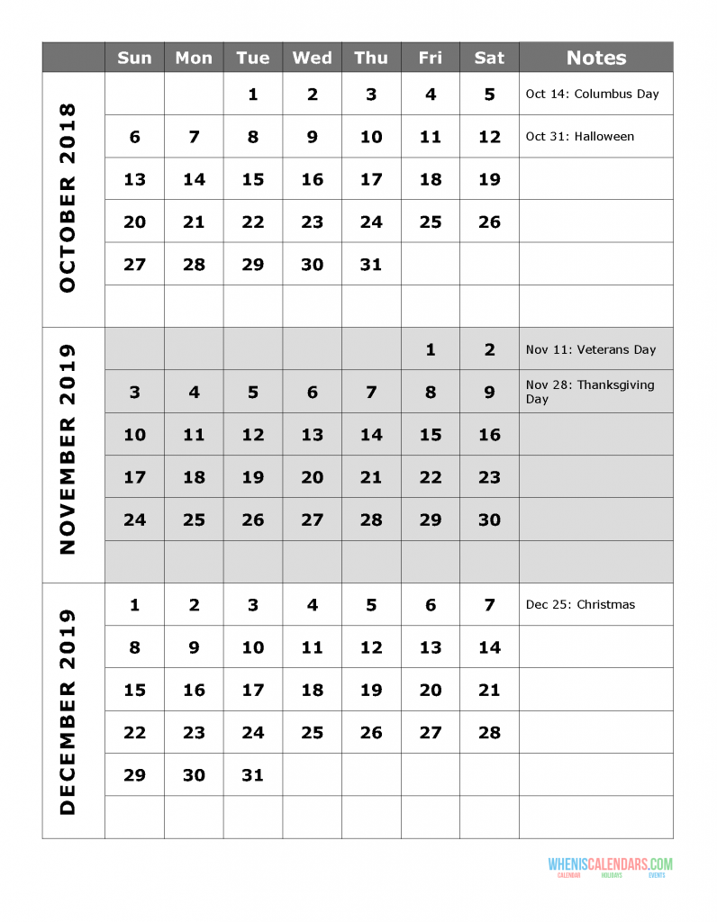 2019 Quarterly Calendar Printable - Quarter 4: October, November, December. Free Printable Calendar 2019 with Holidays and space for notes