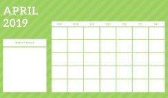 April 2019 Blank Calendar Template rainbow stripes Weekly