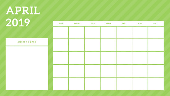 April 2019 Blank Calendar Template rainbow stripes Weekly