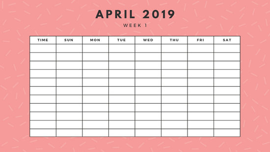 April 2019 Weekly Calendar Template yellow sprinkles and dots