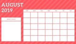 August 2019 Blank Calendar Template rainbow stripes Weekly