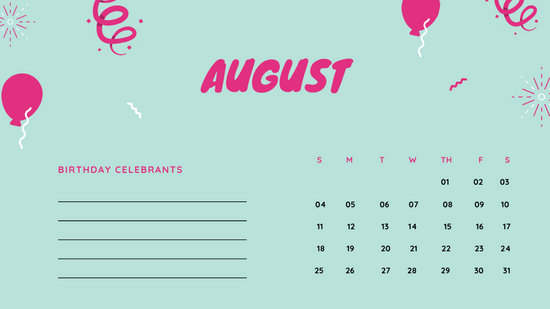 August 2019 Calendar Template colorful balloons confetti cute birthday Calendar