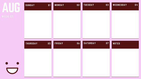 August Weekly Calendar Template colorful illustrated smiley face