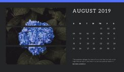 black Photo collage Free August 2019 Calendar Template