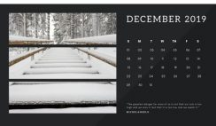 black Photo collage Free December 2019 Calendar Template