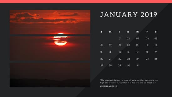black Photo collage Free January 2019 Calendar Template