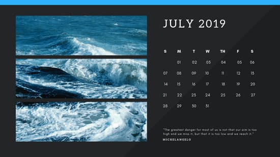 black Photo collage Free July 2019 Calendar Template
