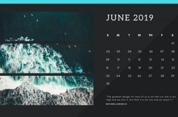 black Photo collage Free June 2019 Calendar Template