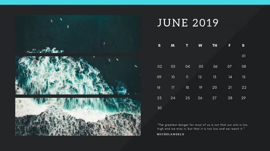 black Photo collage Free June 2019 Calendar Template