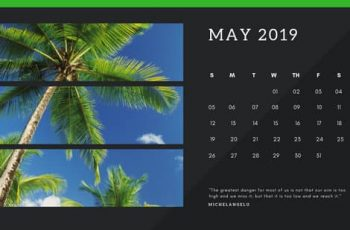 black Photo collage Free May 2019 Calendar Template